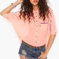 Trimmed Pocket Blouse - Peach in  What's New at Nasty Gal