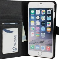iPhone 6 PLUS Case, Abacus24-7 Wallet Case with Leather Flip Cover, Black