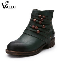 2017 Autumn Winter Women Shoes Ankle Boots Genuine Leather Low Heels Round Toes Beading Handmade Vintage Women Boots