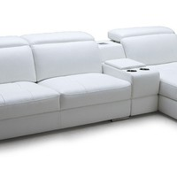 Divani Casa Sage - White Full Leather Sectional Sofa with iPhone Dock & Speakers