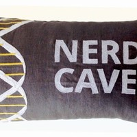 """Amore Beaute Decorative Throw Pillow Cover with Nerd Cave and DNA Design - Handcrafted Custom Pillowcase in Gray Linen with White and Yellow Thread Embroidered Pattern - 12"""" X 20"""" - Gifts - Gift for Him"""