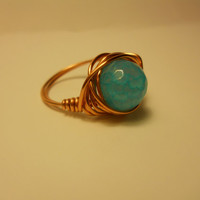 Copper Wire Wrapped Fire Haze Blue Agate Ring, copper wire wrapped ring, wire wrapped ring, blue agate wire wrapped ring, copper ring
