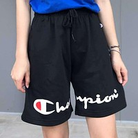 Champion Summer Women Men Loose Print Beach Sport Shorts