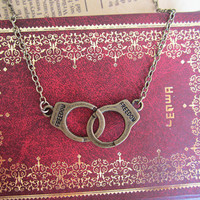retro brass handcuff necklace