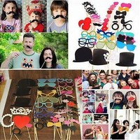 44pcs Photo Booth Props Lips Moustache On A Stick For Wedding Party Decoration [7980701511]