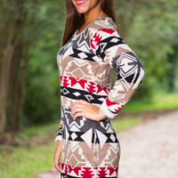 Right Way Sweater Dress, Black-Red