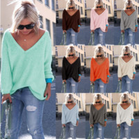 Women's tunic - deep v neckline/long sleeve