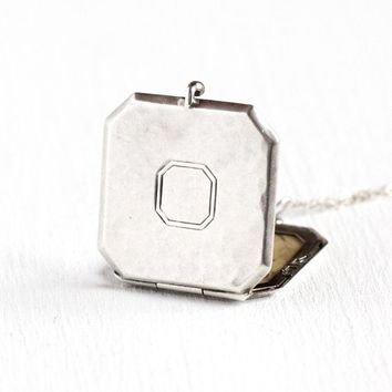 Art Deco Locket - Vintage Sterling Silver Octagon Shaped Fob - 1930s Pendant Necklace Original Photograph Unisex Statement Jewelry