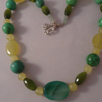 Yellow & Green clear Jasper with Swarovski faceted ovals Necklace 21iNCH