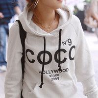 Letter Printed Long-Sleeved Fleece Hooded Coat