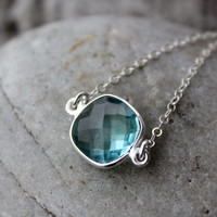 SALE Silver Aqua Quartz Bezel Necklace - Gemstone Necklace - Gifts for Her