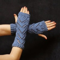 Lace Fingerless Chevron Gloves - Hobo Gloves - Zig Zag Lace - Country Blue
