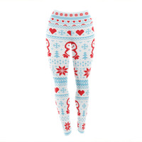 "KESS Original ""Pixel Penguin Holiday"" Christmas Pattern Yoga Leggings"