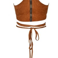 Native Song Brown Faux Suede Spaghetti Strap Crop Tie Back Halter Tank Top