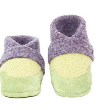 Toddler Wool Slippers, Leather Bottoms