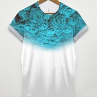 Light Blue Roses All Over T Shirt