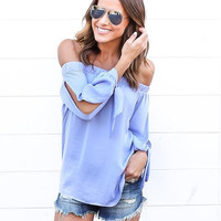 2016 Women Casual Summer Chiffon Blouses Sexy Top Off Shoulder Mujer Tops Long Sleeve Slash Neck Solid Femme Blusas Shirt M0401