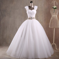 JAEDEN Sweetheart Ball Gown Wedding Dresses Flowers Pleat Tulle Crystal Beading Floor Length Bridal Wedding Gowns W042