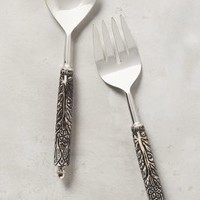 Tracery Serving Set by Anthropologie in Brown Motif Size: Set Of 2 Serveware