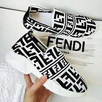 Fendi New fashion more letter print lazy shoes women