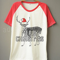 Merry Christmas T-Shirt X-mas T-Shirt Reindeer T-Shirt Deer T-Shirt Short Sleeve Tee Short Baseball Shirt Unisex Shirt Women Shirt Men Shirt