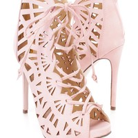 Light Pink Perforated Lace Up Single Sole High Heel Booties Faux Leather