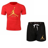 NIKE Jordan New fashion letter people print couple top and shorts two piece suit Red