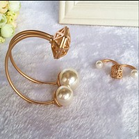Star section dumb gold hollow pearl two fingers ring opening bracelet