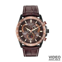 Citizen Watch - Men's Eco-Drive Perpetual Chrono A-T Leather - AT4006-06X