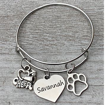 Personalized Cheer Paw Print Bangle Bracelet with Engraved Name Charm