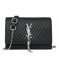 Women Y Letter Stripe grain Small Square Bag Metal Chain Single Shoulder Messenger Bag Handbag