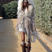 """""""The Emily"""" Cream Fringe and Fur Hooded Poncho"""