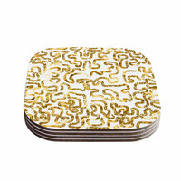 "Anneline Sophia ""Squiggles in Gold"" Yellow White Coasters (Set of 4)"