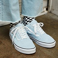 Vans Classic Trending Women Men Canvas Old Skool Flats Sneakers Sport Shoes Light Blue I