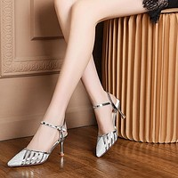 Wedding Shoes Bride Gold Silver Shoes Women High Heels Sandals Women Pointed Toe Heels Dress Shoes