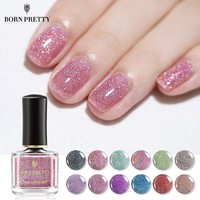 BORN PRETTY Holographic Sequins Nail Polish 6ml Shimmer Nail Art Varnish DIY Manicure Designs 12 Colors