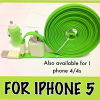 Glow in the dark XXL large flat noodle I phone 4/4S I phone 5 charger