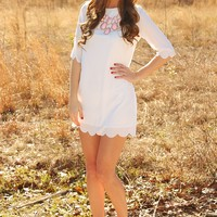 Simply Scalloped Dress: White - What's New