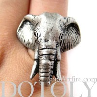 LIMITED TIME SALE: Realistic Detailed 3D Adjustable Elephant Animal Ring in Silver by Dotoly