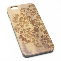 Retro Floral Real Wood EngravediPhone 6s Case iPhone 6 Case iPhone 6s 6 Plus Cover Natural Wooden iPhone 5s 5 Case Samsung Galaxy S7 Edge S6 S5 Case D100