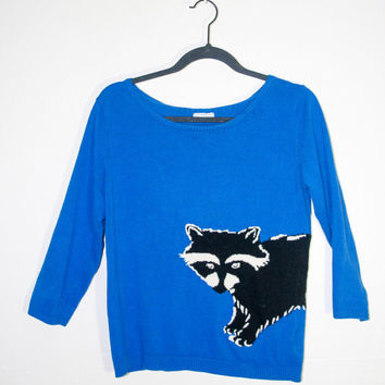 vintage blue raccoon sweater, cute funny animal retro sweater black and white, raccoons hipster kitschy urban outfitters fashion 2014