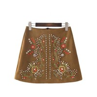 suede embroidery skirts