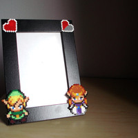 Valentine's Day Legend of Zelda Photo Frame. Black Pîcture Frame. Choose between two different Zelda Sprites