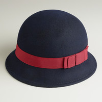 Navy with Red Bow Cloche Hat - World Market
