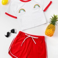 Contrast Trim Tee and Shorts Set