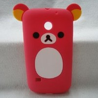 bear teddy 3D ear Cute lovely Soft Silicone Case Cover For Huawei T-Mobile Prism U8651/C8650 Huawei M865 C8650 Ascend II 2 pink