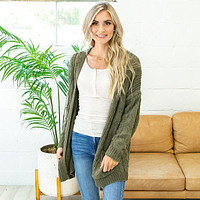 NEW! Isabel Open Knit Cardigan - Olive