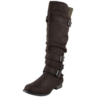 Womens Knee High Boots Ruched Four Buckles Suede Knitted Calf Brown SZ