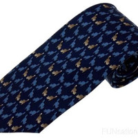 Olimpo 100% Silk Neck Tie Navy Squirrels Animals Mens Classic Dress Business NEW