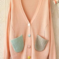Pink V-neck long-sleeve sweater knit cardigan from Fanewant